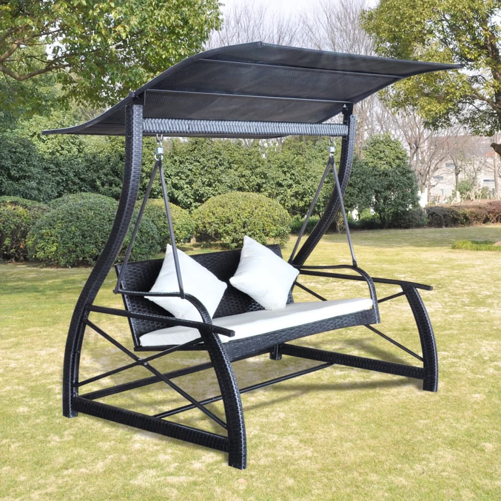Details About Garden Swing Chair Poly Rattan Patio Armchair Bench Canopy Sun Lounge Seat Porch