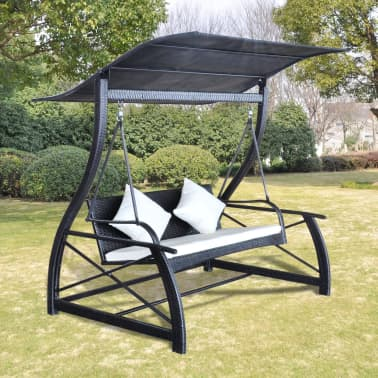 "vidaXL Garden Swing Chair Poly Rattan Black 65.7""x51.2""x70""[1/8]"