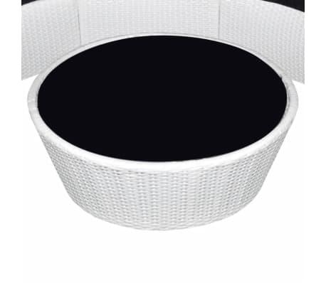vidaxl garden lounge set round poly rattan white. Black Bedroom Furniture Sets. Home Design Ideas