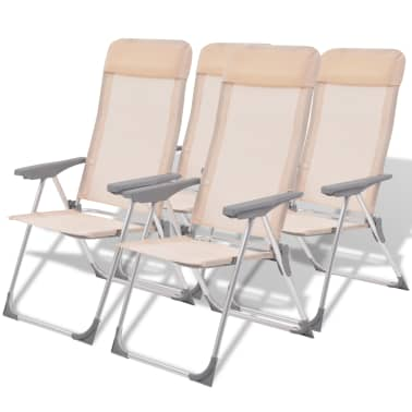 "vidaXL Camping Chairs 4 pcs Cream Aluminum 22""x23.6""x44.1""[1/8]"