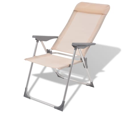 "vidaXL Camping Chairs 4 pcs Cream Aluminum 22""x23.6""x44.1""[2/8]"