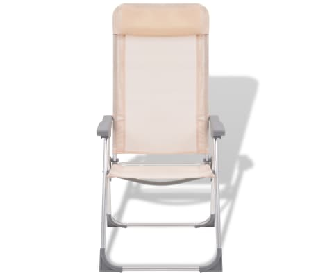 "vidaXL Camping Chairs 4 pcs Cream Aluminum 22""x23.6""x44.1""[3/8]"
