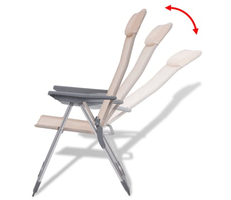 "vidaXL Camping Chairs 4 pcs Cream Aluminum 22""x23.6""x44.1""[5/8]"
