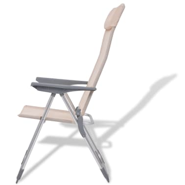 "vidaXL Camping Chairs 4 pcs Cream Aluminum 22""x23.6""x44.1""[4/8]"