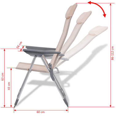"vidaXL Camping Chairs 4 pcs Cream Aluminum 22""x23.6""x44.1""[8/8]"