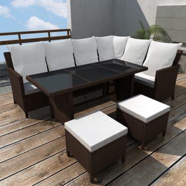 vidaXL Set de muebles de jardín 14 piezas 8 personas ratán PE marrón ...