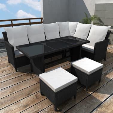Vidaxl Garden Lounge Set 14 Pieces 8 Person Poly Rattan Black