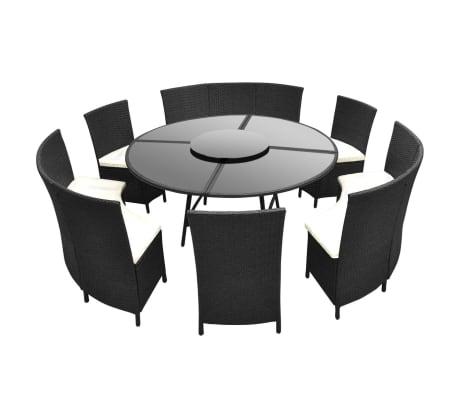 vidaXL udendørs spisebordssæt 7 dele med hynder polyrattan sort