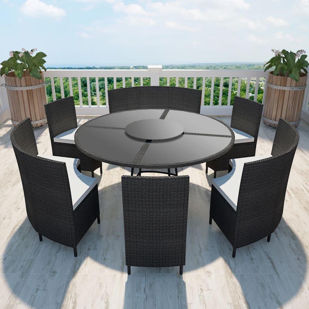 vidaXL Set mobilier de exterior cu perne, 7 piese, negru, poliratan poza vidaxl.ro
