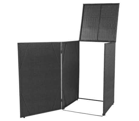 vidaxl poly rattan m lltonnenbox f r 1 tonne schwarz m lltonnenabdeckung m llbox ebay. Black Bedroom Furniture Sets. Home Design Ideas