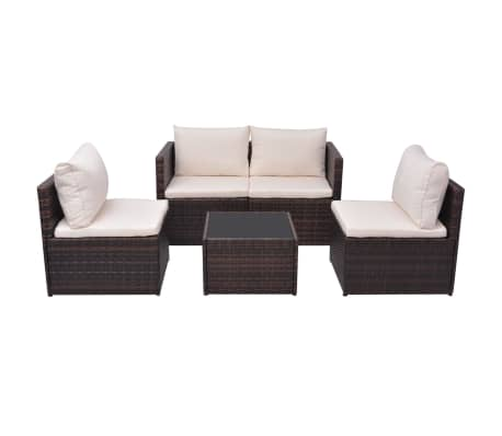 vidaXL Garden Sofa Set 13 Pieces Poly Rattan Brown