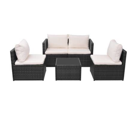 vidaXL 5 Piece Garden Lounge Set with Cushions Poly Rattan Black