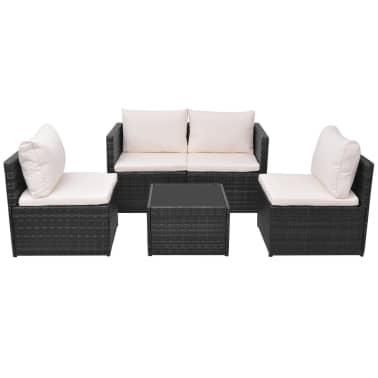 vidaXL 5-tlg. Garten-Lounge-Set mit Auflagen Poly Rattan Schwarz[2/13]