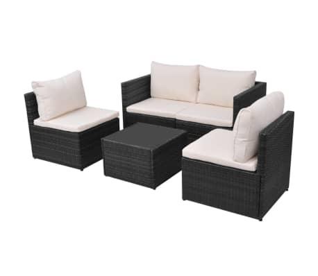 vidaXL 5-tlg. Garten-Lounge-Set mit Auflagen Poly Rattan Schwarz[3/13]