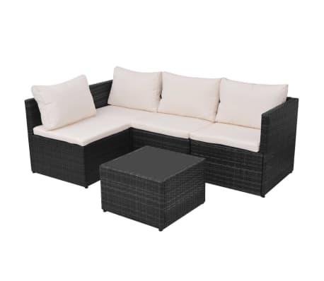 vidaXL 5-tlg. Garten-Lounge-Set mit Auflagen Poly Rattan Schwarz[5/13]