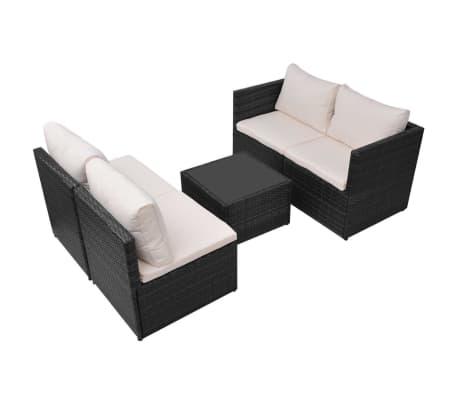 vidaXL 5-tlg. Garten-Lounge-Set mit Auflagen Poly Rattan Schwarz[6/13]