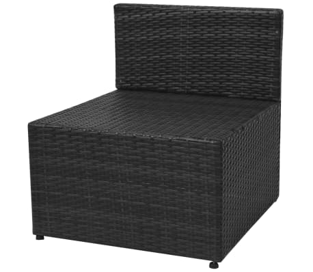 vidaXL 5-tlg. Garten-Lounge-Set mit Auflagen Poly Rattan Schwarz[9/13]