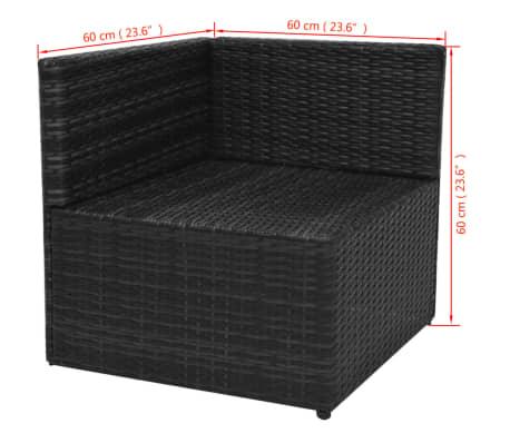 vidaXL 5-tlg. Garten-Lounge-Set mit Auflagen Poly Rattan Schwarz[11/13]
