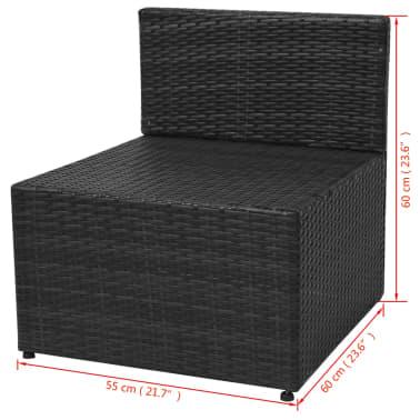 vidaXL 5-tlg. Garten-Lounge-Set mit Auflagen Poly Rattan Schwarz[12/13]
