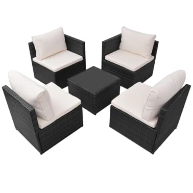 vidaXL 5-tlg. Garten-Lounge-Set mit Auflagen Poly Rattan Schwarz[4/13]