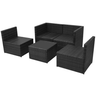 vidaXL 5-tlg. Garten-Lounge-Set mit Auflagen Poly Rattan Schwarz[7/13]