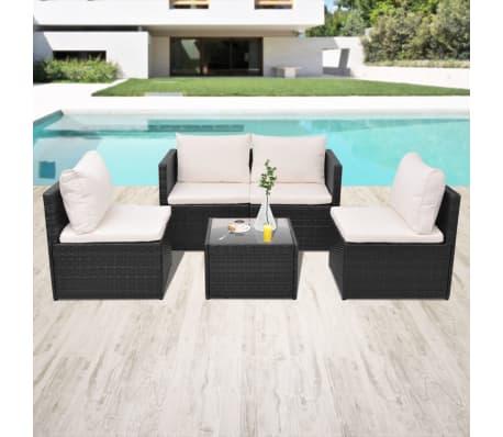 vidaXL 5-tlg. Garten-Lounge-Set mit Auflagen Poly Rattan Schwarz[1/13]