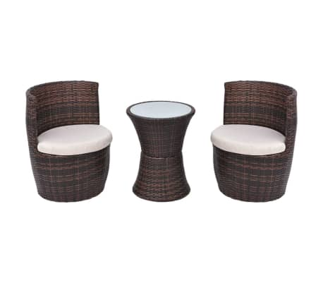 vidaXL 3 Piece Bistro Set with Cushions Poly Rattan Brown