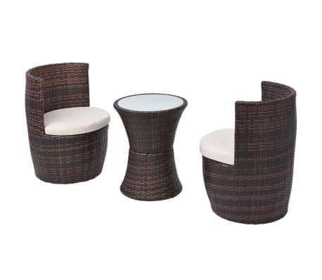 f826f302b vidaXL Set mesa y sillas de jardín 3 pzas y cojines poli ratán marrón[3