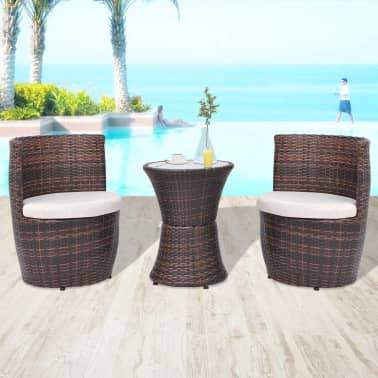 vidaXL Conjunto de muebles de exterior ratán sintético marrón 5 ...
