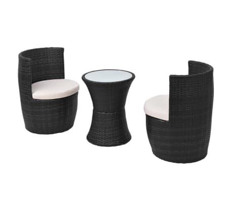 vidaXL Mobilier de bistro 3 pcs avec coussins Résine tressée Noir[3/8]