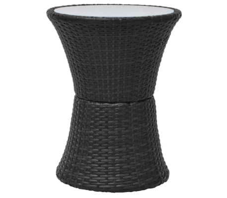 vidaXL Mobilier de bistro 3 pcs avec coussins Résine tressée Noir[6/8]