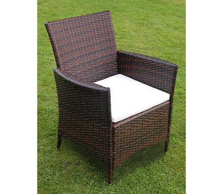 VidaXL Outdoor Dining Set 13 Pieces Poly Rattan Brown