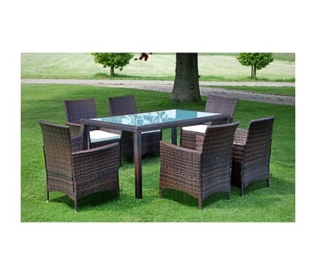 vidaxl garten essgruppe 13 tlg poly rattan braun g nstig kaufen. Black Bedroom Furniture Sets. Home Design Ideas