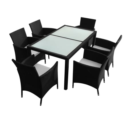 vidaXL Mobilier à dîner jardin 7 pcs avec coussins Résine tressée Noir