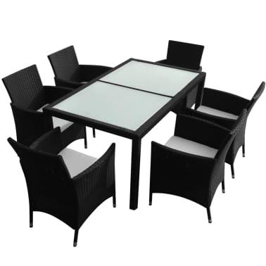 vidaXL Mobilier à dîner jardin 7 pcs avec coussins Résine tressée Noir[2/8]