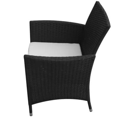 vidaXL Mobilier à dîner jardin 7 pcs avec coussins Résine tressée Noir[4/8]
