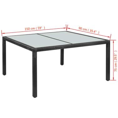 vidaXL Mobilier à dîner jardin 7 pcs avec coussins Résine tressée Noir[7/8]