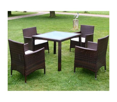 vidaxl garten essgruppe 9 tlg poly rattan braun g nstig kaufen. Black Bedroom Furniture Sets. Home Design Ideas