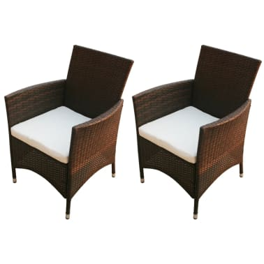 vidaXL Garden Chairs 2 pcs Brown Poly Rattan[1/5]