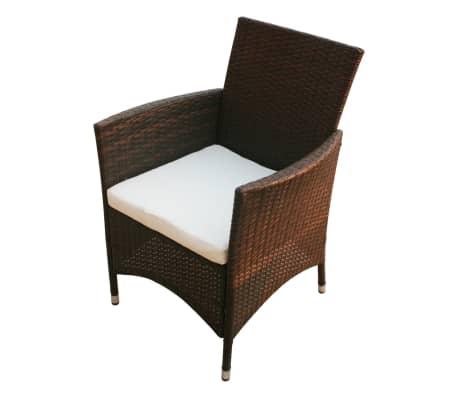vidaXL Garden Chairs 2 pcs Brown Poly Rattan[2/5]