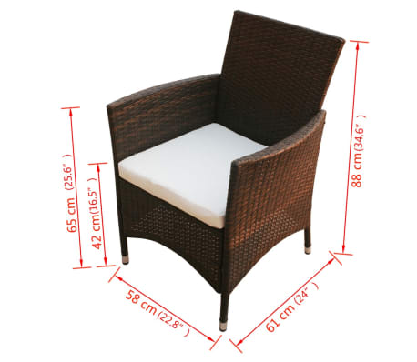 vidaXL Garden Chairs 2 pcs Brown Poly Rattan[5/5]