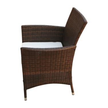 vidaXL Garden Chairs 2 pcs Brown Poly Rattan[3/5]