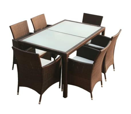 vidaXL 7 Piece Outdoor Dining Set with Cushions Poly Rattan Brown