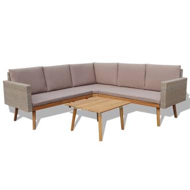 vidaXL 4 Piece Garden Lounge Set with Cushions Poly Rattan Gray[2/8]
