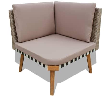 vidaXL 4 Piece Garden Lounge Set with Cushions Poly Rattan Gray[6/8]