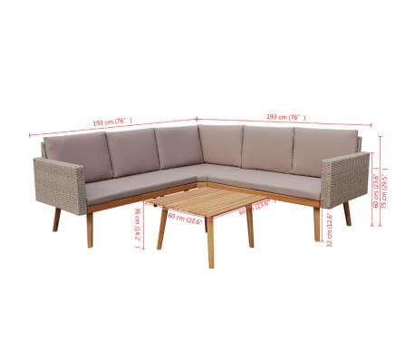 vidaXL 4 Piece Garden Lounge Set with Cushions Poly Rattan Gray[8/8]