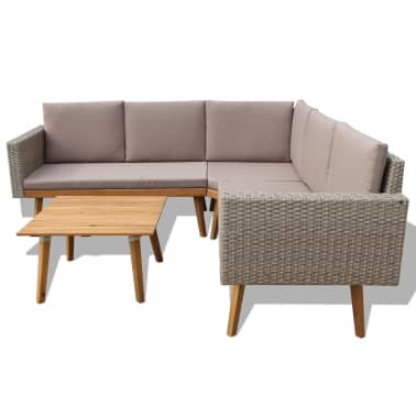 vidaXL 4 Piece Garden Lounge Set with Cushions Poly Rattan Gray[3/8]