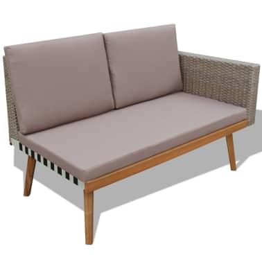vidaXL 4 Piece Garden Lounge Set with Cushions Poly Rattan Gray[4/8]