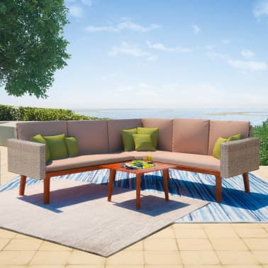 vidaXL 4 Piece Garden Lounge Set with Cushions Poly Rattan Gray[1/8]