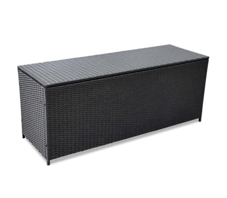"vidaXL Garden Storage Box Black 59""x19.7""x23.6"" Poly Rattan"